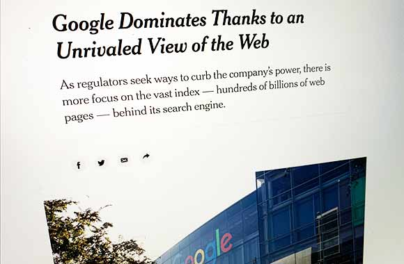 New York Times: Google Dominates Thanks to an unrivaled View of the Web